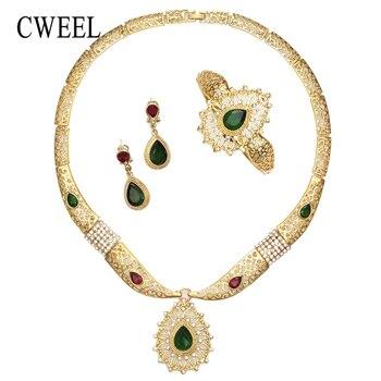 Pendientes CWEEL, conjunto de joyería, cuentas africanas verdes, para mujer, boda, Color dorado, zirconia, fiesta de moda, accesorios turcos clásicos indios