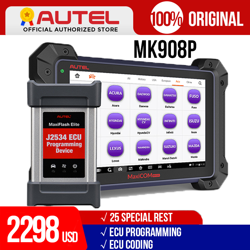 Versione aggiornata di MS908P Autel MaxiCOM MK908P Scanner diagnostico bidirezionale per Auto Sistema Completo di diagnosi e Programmazione ECU J2534 con 1 Anno di aggiornamento Online Gratuito