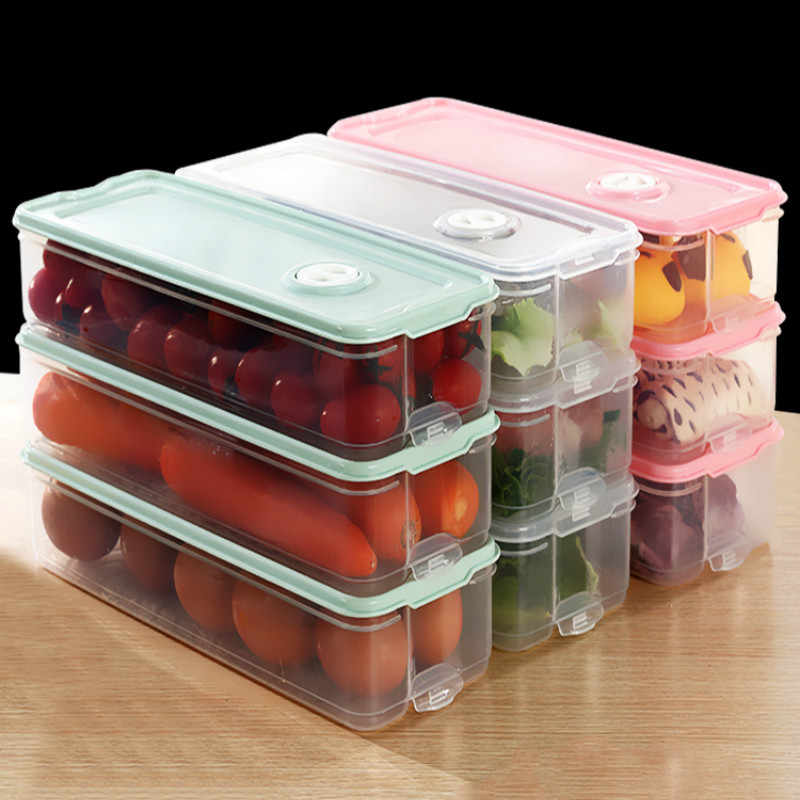 Plastic Transparent Kitchen Storage Box Stackable Airtight
