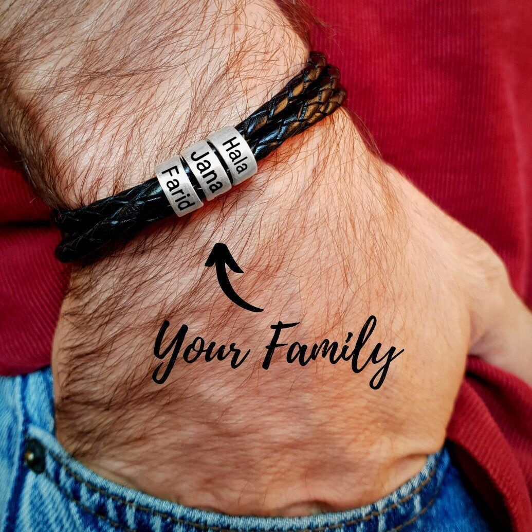 Personalized Stainless Steel Charm Bracelets Genuine Leather Braided Rope Men Bracelet Custom With 2-7 Names Beads Husband Gift