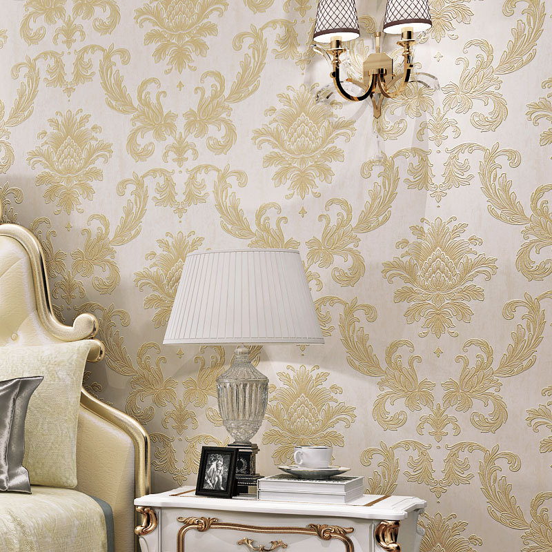 European Style Wallpaper Damascus 3D Living Room Bedroom Background Non-woven Wallpaper Shop Hotel Engineering Decoration
