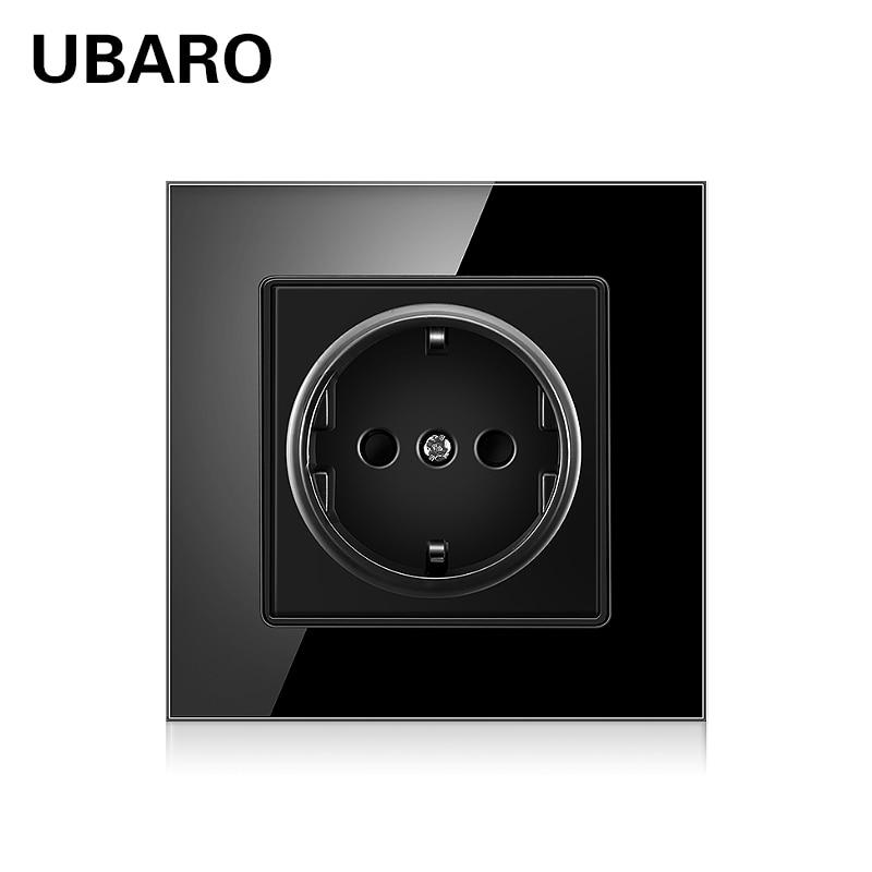 UBARO German AC110-250V 16A Black Crystal Glass Panel Power Electrical Wall Plug Soquete Steckdosen 86*86 Sockets Usb 5V 2100mA