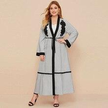 Cardigan Mubarak Abaya Muslim Dress Islamic-Clothing Ramadan Worship-Service Eid Plus-Size