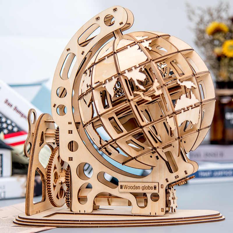 Houten Model Globe World Aarde Oceaan Kaart Bal Monteren Puzzel Speelgoed Cadeau Voor Kinderen Jongens