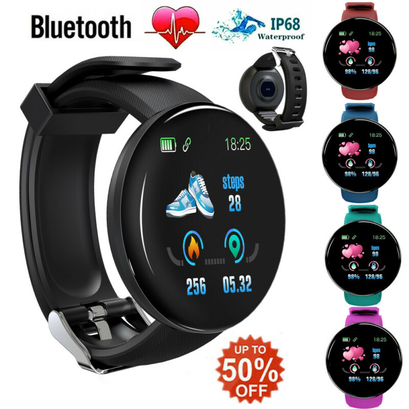 D18 Waterproof Sports Smart Watch Heart Rate Blood Pressure Monitor For IOS Android