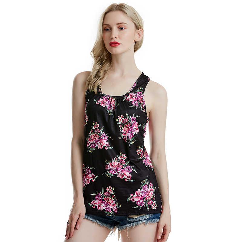 נשים קיץ מקרית חולצות Crew Neck פרחוני מודפס ללא שרוולים גופייה גבירותיי חוף אפוד קיץ למעלה Haut Femme