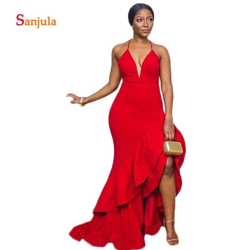Asymétrique jupe rouge formelle robes de soirée 2020 Design de mode V cou Tieres robes de soirée dos nu nuit dîner D1315