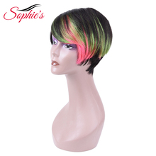 Sophie's Brazilian Bob Wig Short Human Hair Wigs For Black Women Remy Straight Hair Wig 1b Purple Pink Blue Ombre Human Hair Wig spiffy fluffy short boy cut human hair straight side bang capless wig for women