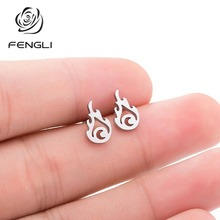 FENGLI Boho Cute Flame Unique Stud Earrings for Women Punk Party Statement Jewelry Gift Brincos Halloween Gifts
