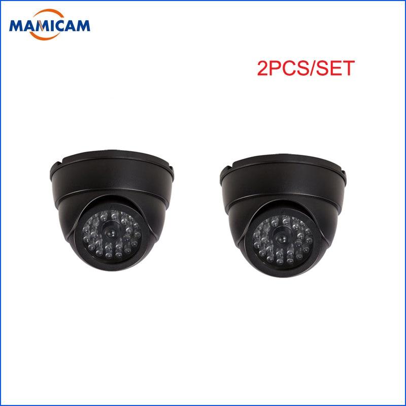 2pcs/set Dummy Camera Fake Dome Surveillance Kamera Home Security CCTV Cameras Flashing LED Light Indoor