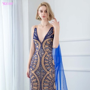 Image 5 - YQLNNE Couture Luxury Blue Crystals Evening Dress Sexy V Neck Nude Lining Evening Gowns Sleeveless Mermaid Dresses With Shawl