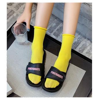 Socks women's summer thin section Korean version of the tube socks velvet pile pile socks tide solid color curling ice ice socks