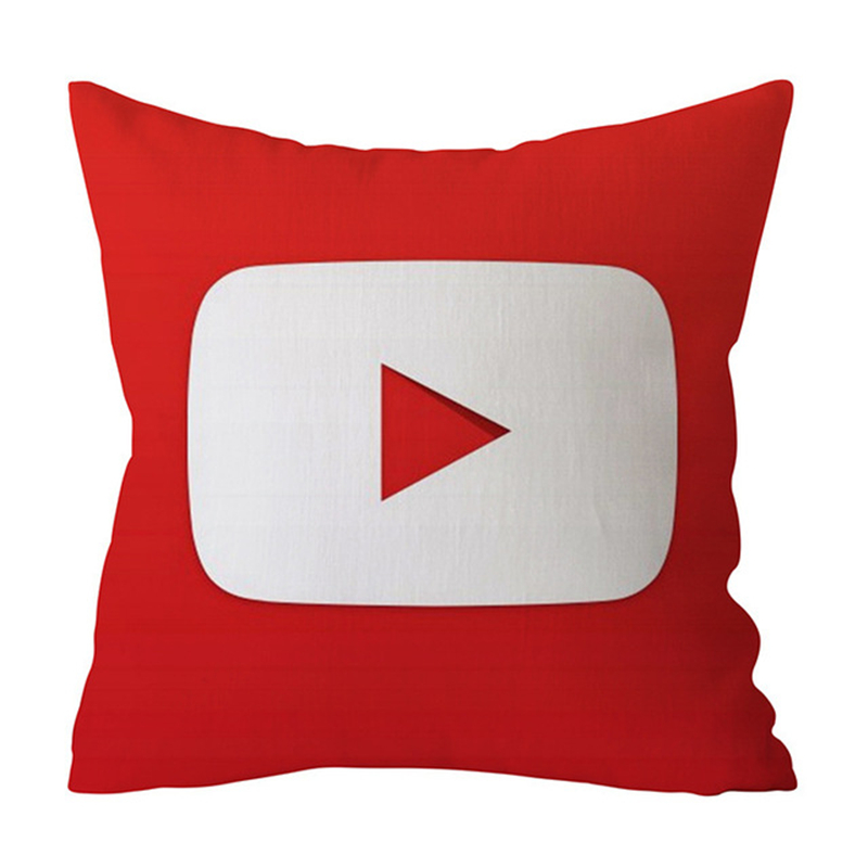 "Square 18"" Decorative Throw Pillow Cushion Cover Polyester Cotton Letter Youtube Logo Valentines Day Gift For Sofa Home Decor"