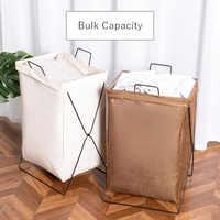 Laundry Hamper Large organizer Foldable drity laundry Basket Hamper kids Iron Frame Canvas Bathroom Storage Toy laundry Basket