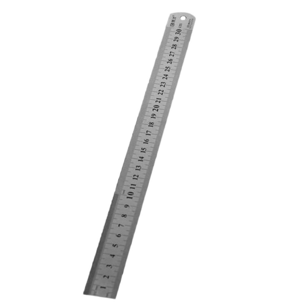 Stainless Steel Pocket Metric Metal Ruler Measurement Double Side Kit 15//20//30CM