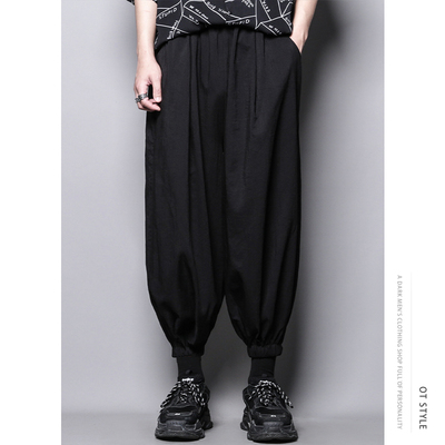 Dark personality design meets casual pants nine-point loose waist wide leg trousers men's leggings cigarette pants