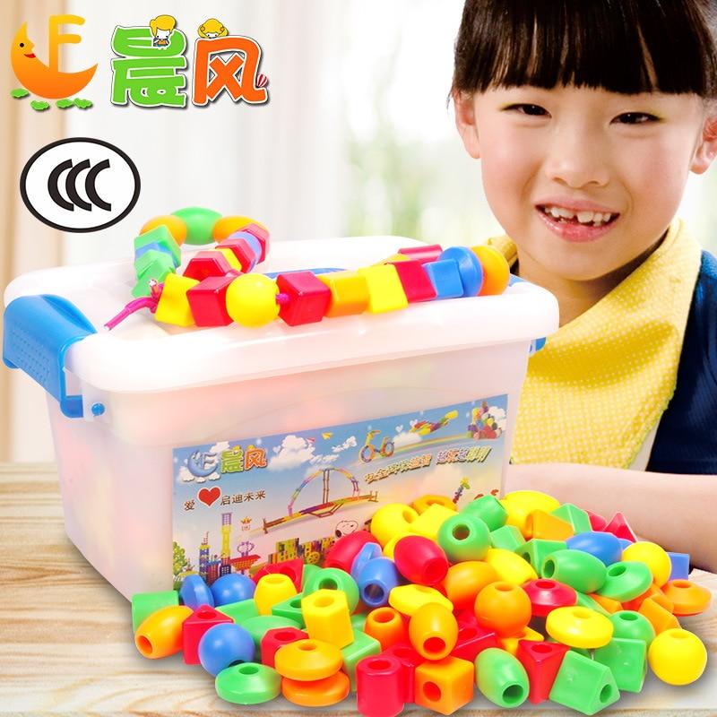 Children Early Education Toy Building Blocks CHILDREN'S ENLIGHTEN Rope Wear Beaded Bracelet Boys And Girls Handmade DIY Toy