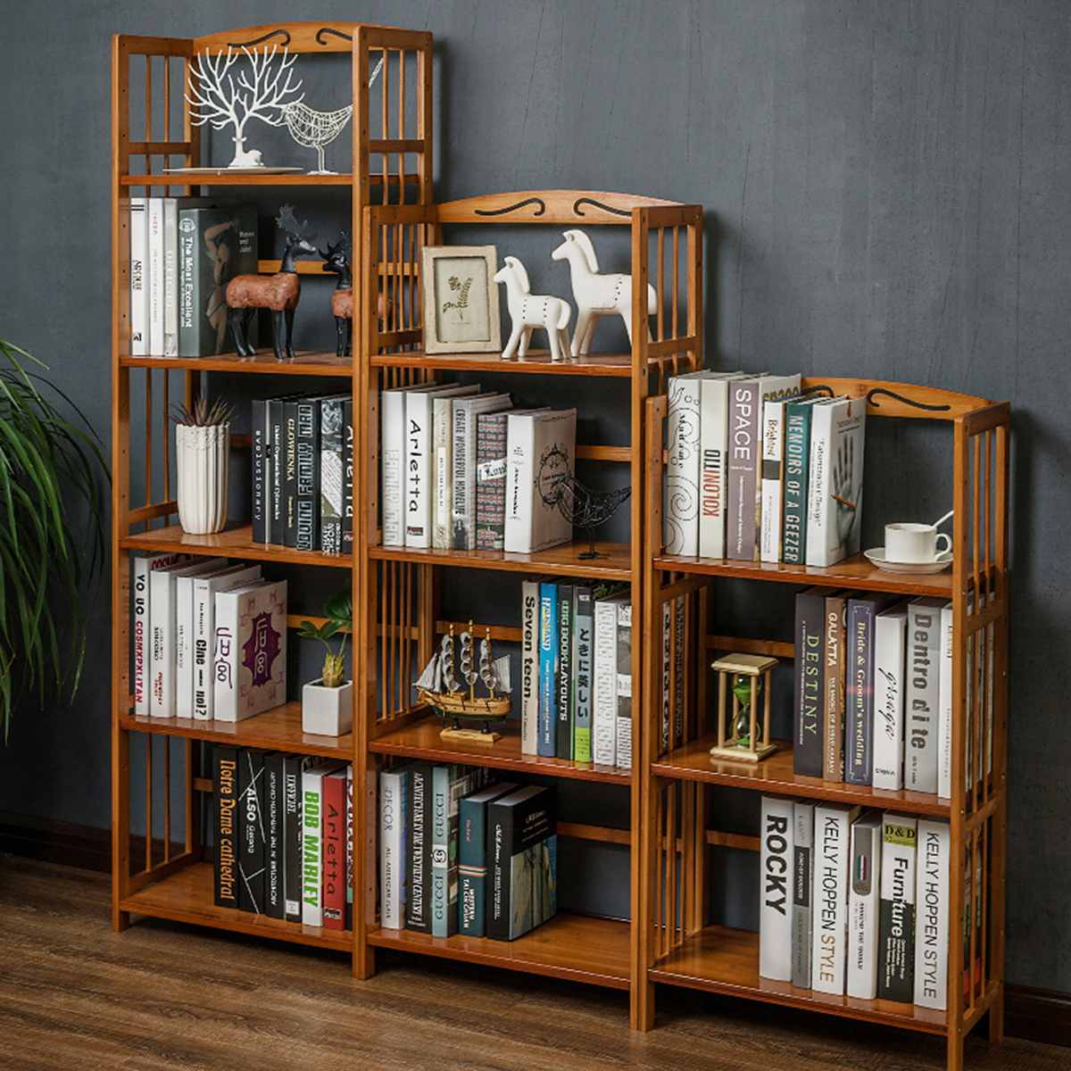 5/4/3 Layer Bookcase Home office Bamboo Bookshelf Children Simple Floor Book Storage Cabinet Display Stand Study Decoration   - title=