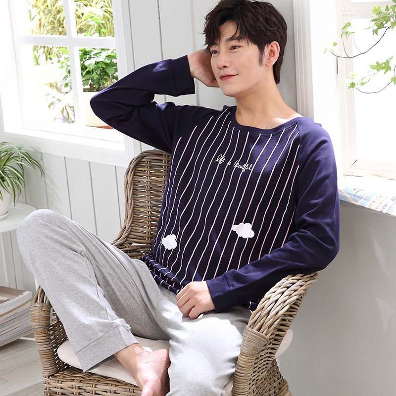2020 Sale Lovely Thin New Young And Middle-aged Men's Pyjamas Long-sleeved Age Season Leisure Can Wear Outside Leisurewear Suit