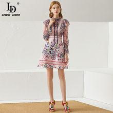 Ld linda della moda pista vestido de verão feminino laço laço manga longa impressão rendas retalhos bordado do vintage mini vestido