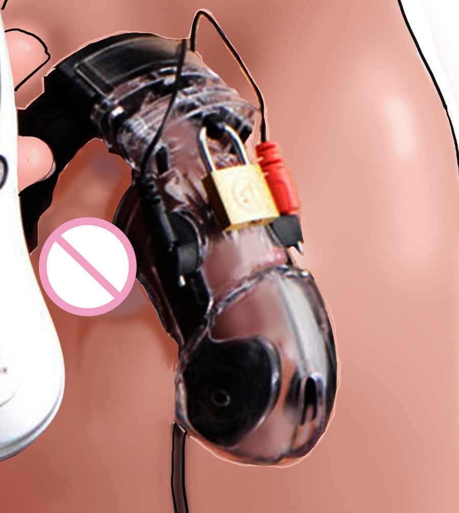Lockdown Estim CB6000 Chastity Cage Ball Stretcher,Locking CBT Electric Shock Cock Cage,Sex Toys For Men