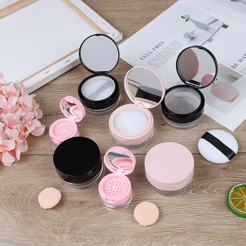 7Styles Portable Plastic Powder Box Empty Loose Powder Pot With Sieve Mirror Cosmetic Sifter Loose Jar Travel Makeup Container