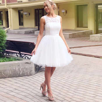 Wedding Dress 2019 Illusion Scoop Collar Sleeveless Robe De Mariage A Line Short Knee Length Lace Bridal Dress Gown - DISCOUNT ITEM  12% OFF Weddings & Events