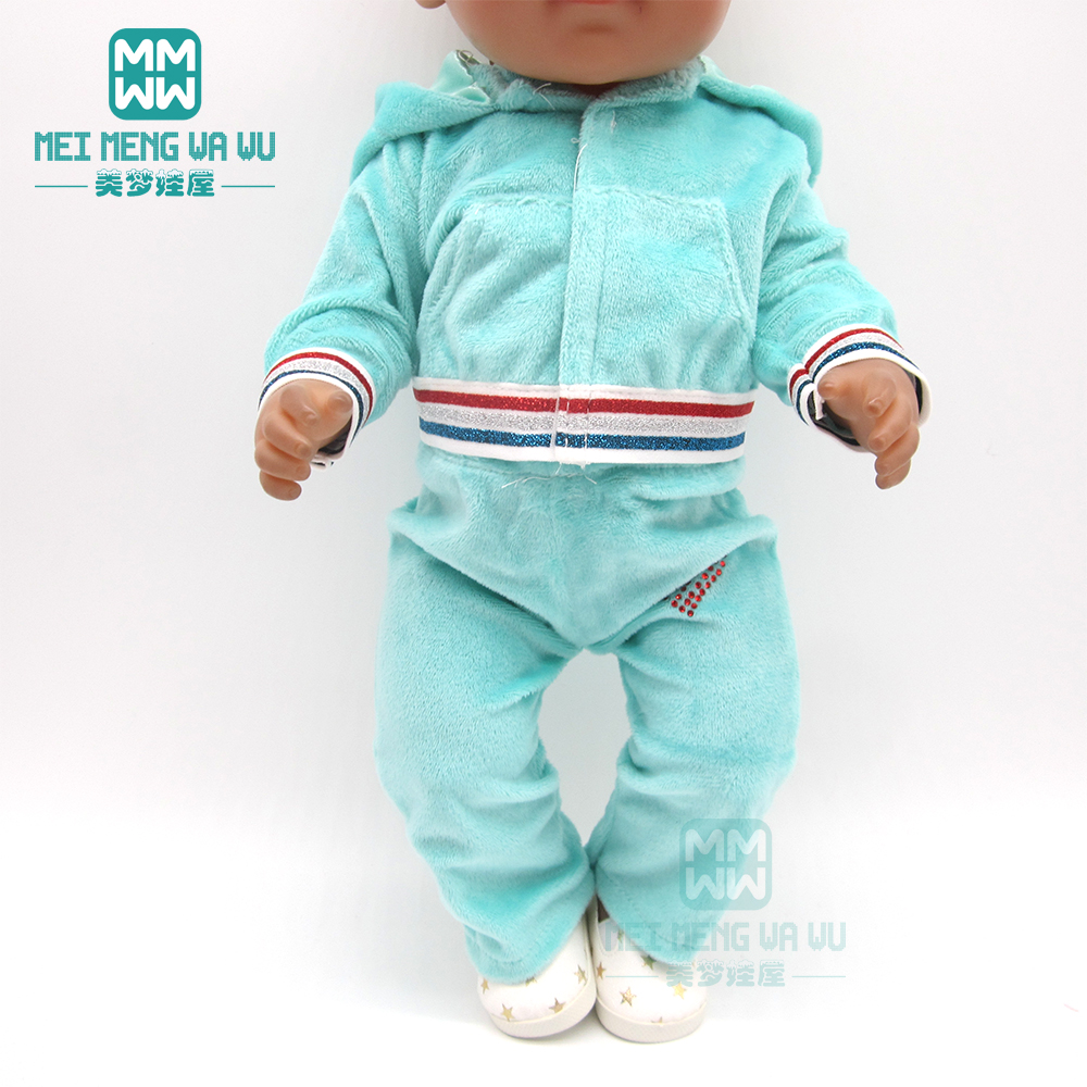 Doll Clothes Fashion Hooded Hot Rhinestone Sports Suit For 43 Cm Toy New Born Doll Baby 18 Inch American Doll Our Generation