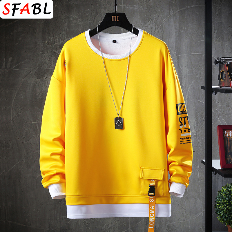 SFABL Casual O-Neck Solid Hoodie Sweatshirt Men's Autumn Spring Hip Hop Streetwear Male High Street Pullover Hoodie Tops Fashion