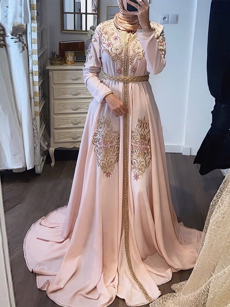 Bbonlinedress Pink Moroccan Kaftan Evening Dress Sleeves High Collar Embroidery Long Arabic Muslim Formal Gown robe de soiree