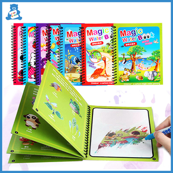 8 Types Montessori Toys Reusable Coloring Book Magic Water Drawing Book Sensory Early Education Toys For Kids Birthday Gift 1set montessori coloring book doodle