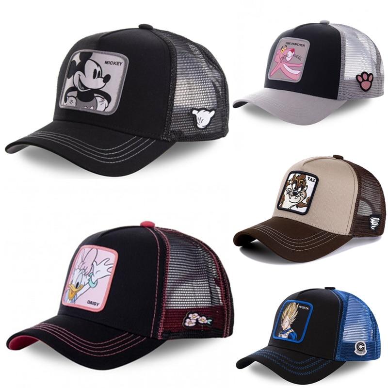New Brand Anime Dragon Ball Pink Panther Snapback Cotton Baseball Cap Men Women Hip Hop Dad Mesh Hat Trucker Hat Dropshipping