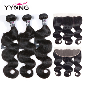 YYong Malaysian Body Wave 3 Bundles With Frontal 13x4 Ear To Ear Lace Frontal With Bundle Remy Human Hair Weave With Frontal