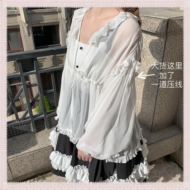 летняя одежда для защиты от солнца блузка в стиле лолиты полупрозрачная фотография