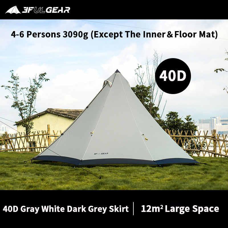 3F UL GEAR Pyramid namiot Tipi Outdoor Camipng 4-6 osób duży namiot 40D/210T wiatroszczelny namiot 3 sezon ze śnieżną spódnicą