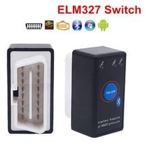 Super mini elm327 bluetooth elm 327 interruptor de alimentação v2.1 botão de ligar/desligar obd2 ferramenta de diagnóstico do carro multi línguas para protocolos obdii