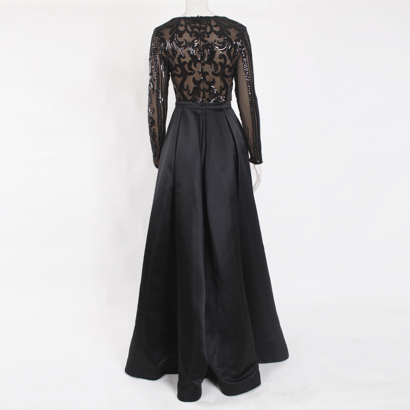 Black Evening Party Ball Gown Long Sequined Maxi Dress Full Sleeved O Neck Floor Length - 3