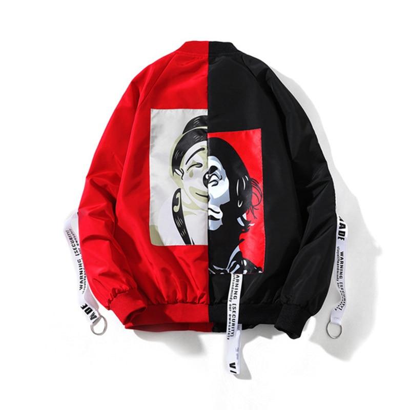 New Stitching Clown Print Windbreaker Jacket Men Long Sleeve Coat Casual Men's Thin Basic Jacket Outwear Fashion Male