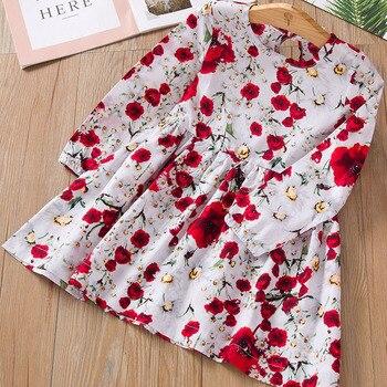 Новое платье для девочек; Весенне-осенняя одежда для маленьких девочек; Праздничные платья с длинными рукавами и рисунком розы; Платье принцессы; Платье-пачка