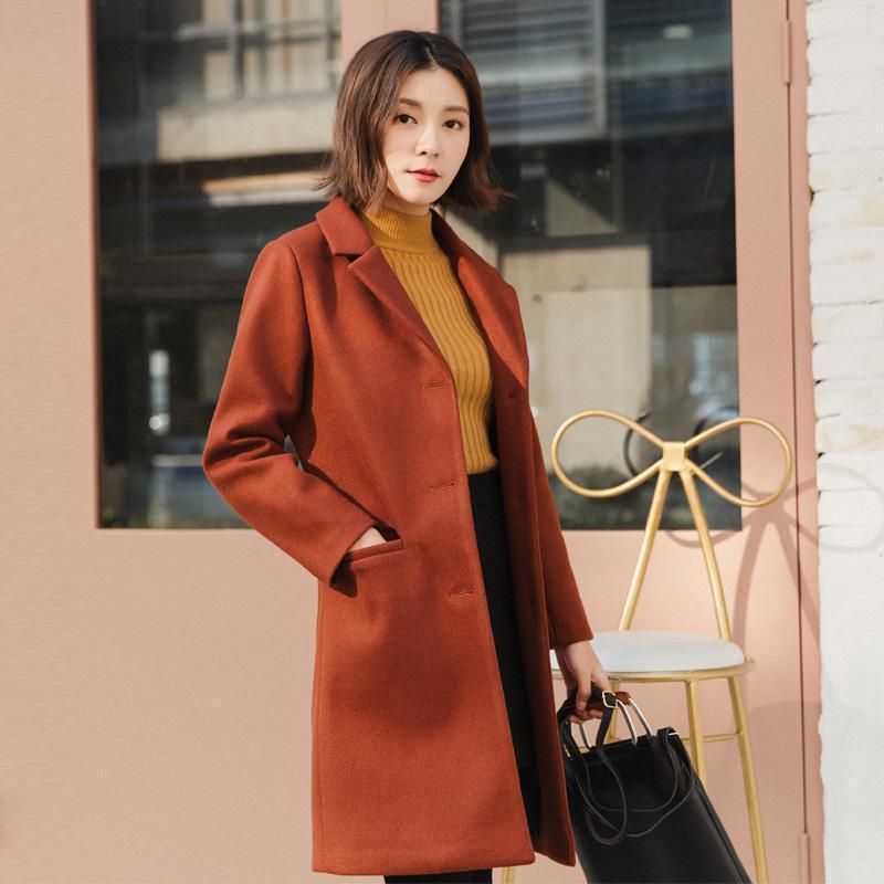2019 New women turn down collar long coats korean style slim long sleeved baisc outerwear autumn winter ladies elegant wool coat
