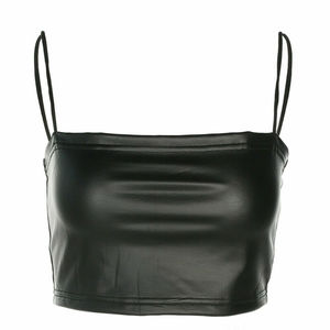 New Women's Sexy Tank Club PU Leather Tube Tops Camisole Solid Sleeveless Hot Sell Crop Solid Black 2019 New Arrival Top