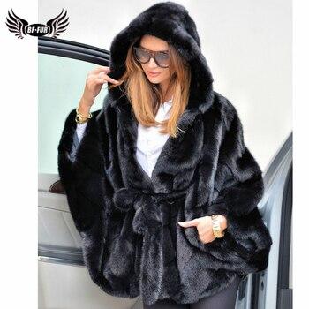 BFFUR 2019 mujeres abrigo de piel auténtica de visón Pelt completo Bat manga con capucha de piel de visón abrigos Chaleco de piel de invierno mujer chaqueta de lujo