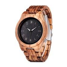 Bobo pássaro zebra relógios de madeira homem quartzo relógio de madeira leve do vintage relógio de pulso analógico masculino ponteiros luminosos