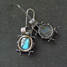 Vintage   Blue Resin Stone Earrings for Women Tribal Boho Round Drop Dangle Earrings Indian Jewelry Z3M609 oval blue stone pearl dangle earrings for women drop earring gold color statement trendy boho designer vintage jewelry hot me010