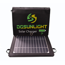 RG Folding Solar Panel Charger14W Portable with Fast Charge Dual USB  DC Port High Efficiency