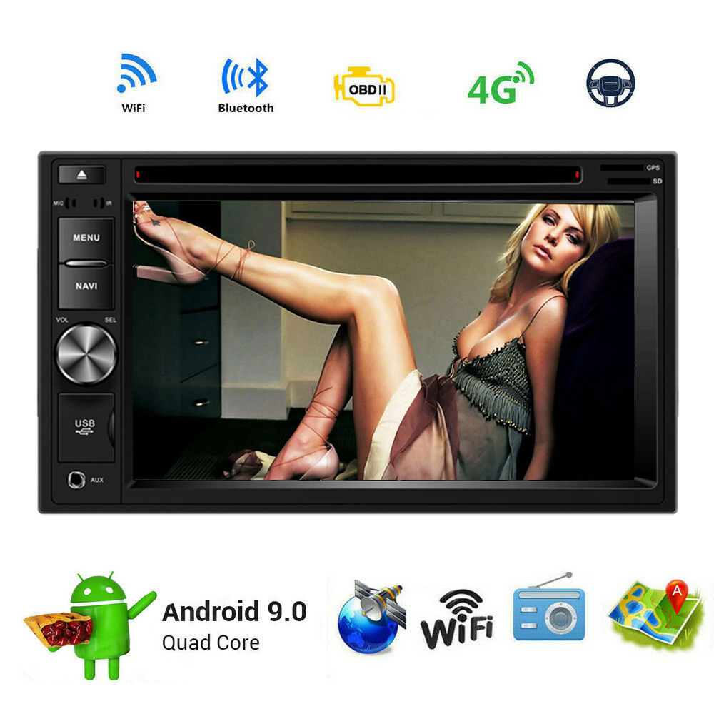 2GRAM+16ROM Android 9.0 Car DVD GPS Navigation 6.2Inch 2DIN Universal Car Radio Stereo Audio Head Unit Support Rear View Camera