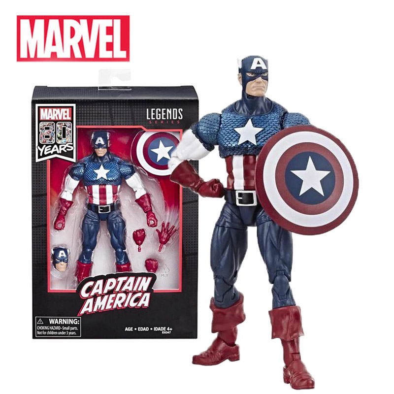 6 Inches Marvel Legends Captain America E6347 80th Anniversary Serial 17cm Action Figures Kids Toys New Year Gifts For Children