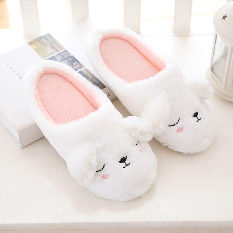 Millffy Cute Cortoon Cozy Comy Home Indoor Warmwhite Rabbit Slipper Cartoon Sleep Bunny Plush  Slippers Women Slipper