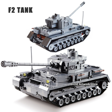 KAZI 82010 Military Armored War Chariot F2 Tank German force Panzer IV Soldiers Figures DIY Building Blocks Toys Kids