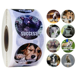 500 Pcs/roll Reward Stickers for Teachers Fun Motivational & Incentive Stickers for Kids Trendy Animal Meme Toys Stickers